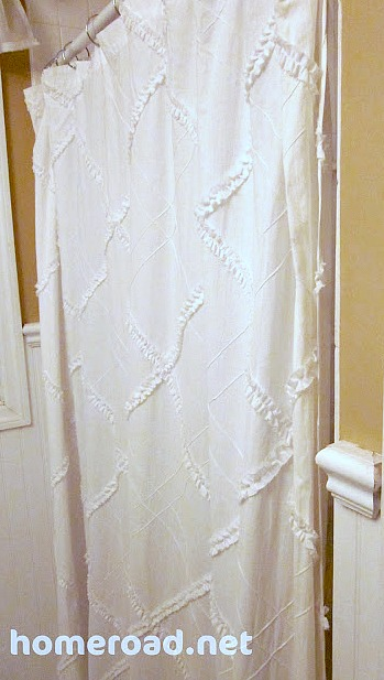 White Shower curtain for tiny bathroom