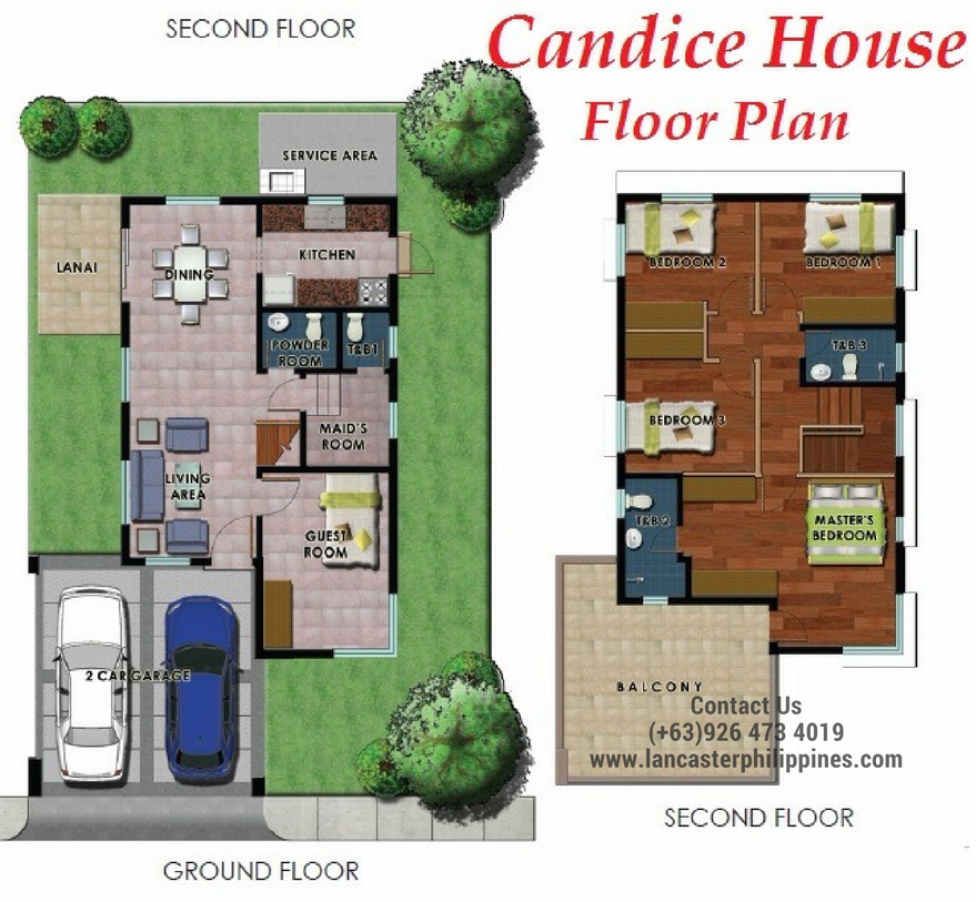 Floor Plan of Candice - Lancaster New City Cavite | House and Lot for Sale Imus-General Trias Cavite