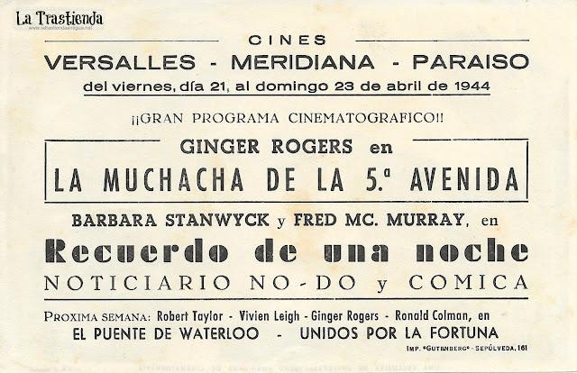 La Muchacha de la Quinta Avenida - Programa de Cine - Ginger Rogers - James Ellison