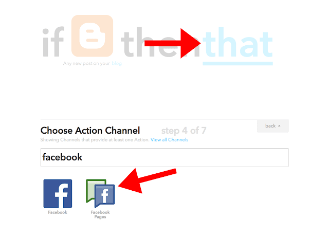 choose action channel IFTTT facebook