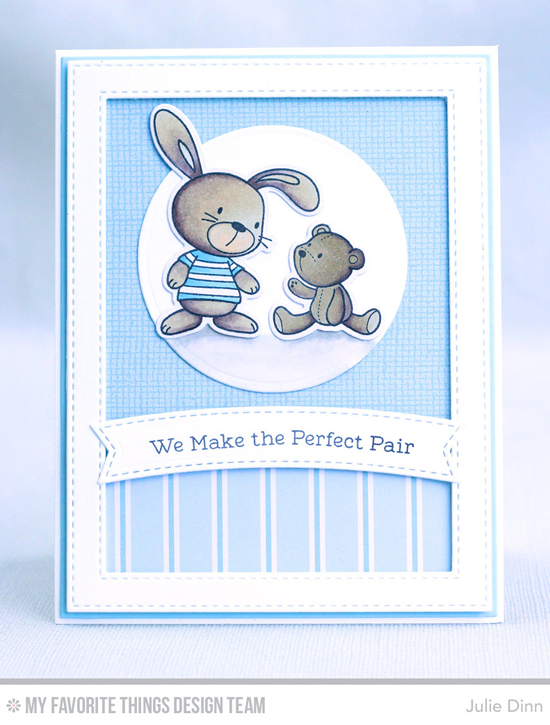 Perfect Pair Card by Julie Dinn featuring Snuggle Bunnies stamp set and Die-namics, and Stitched Rectangle Frames Circle STAX Set 1 Blueprints 2, Blueprints 11, and Blueprints 28 Die-namics #mftstamps