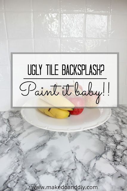painted kitchen tile backsplash, cheap and easy update for dated tile. www.makedoanddiy.com