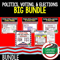 Politics, Voting, Elections, Civics Mega Bundle, Government Mega Bundle, Civics and Government Curriculum, Anchor Charts, Games, Digital Interactive Notebook, Google Classroom, Word Wall, Choice Boards, Guided Notes, PowerPoints, Test Prep, Document Based Questions