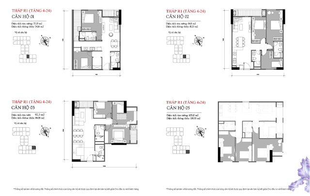 Căn hộ 01 - 02 - 03 - 05 tầng 4-24 tòa R1