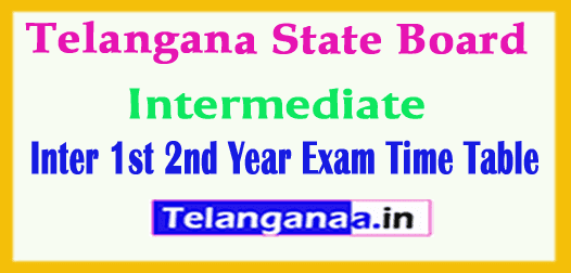 Telangana Inter 1st 2nd Year  Exam Time Table