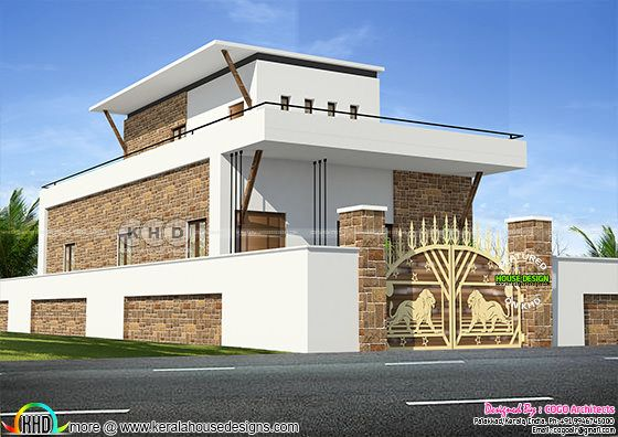 Typical Tamilnadu style 2 bedroom modern home