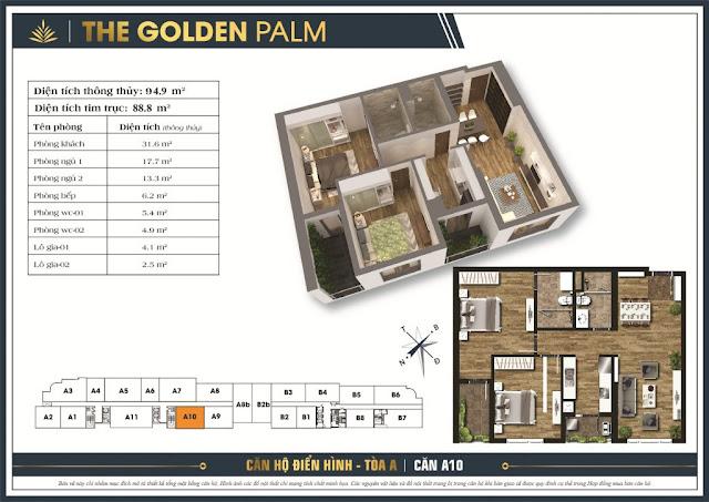 Thiết kế căn hộ A10 tòa A chung cư THE GOLDEN PALM
