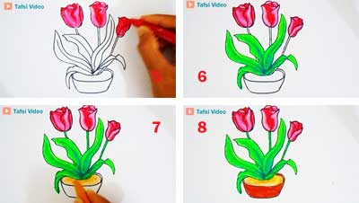 Cara mudah menggambar bunga tulip