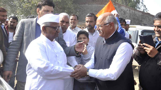 Hazare arrives in Faridabad to support farmers, told budget to waste