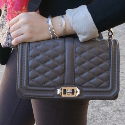 Rebecca Minkoff Love cross body bag in grey | away from the blue blog