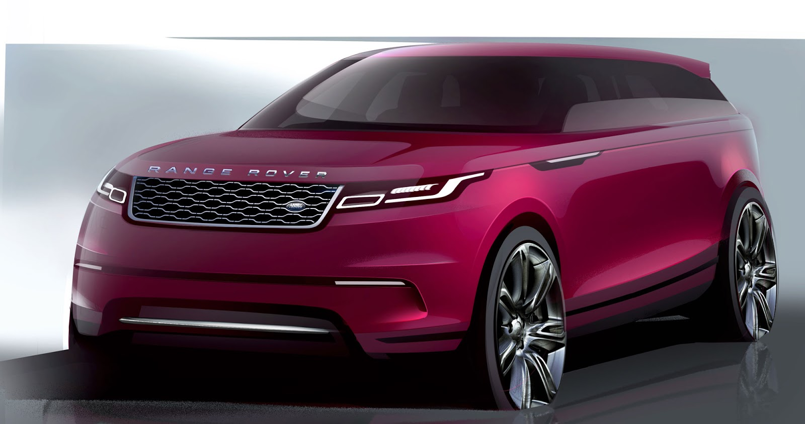 Range Rover Velar sketch front quarter view in fuscia