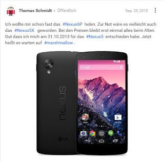 Google Plus Post: Nexus 6P zu teuer
