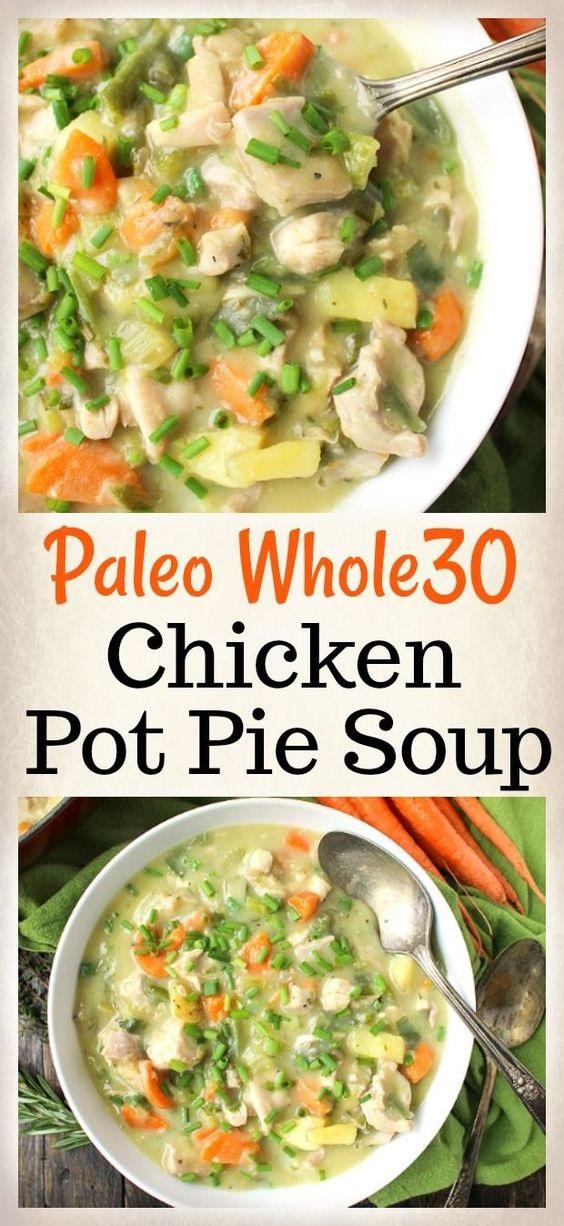 Paleo Whole30 Chicken Pot Pie Soup