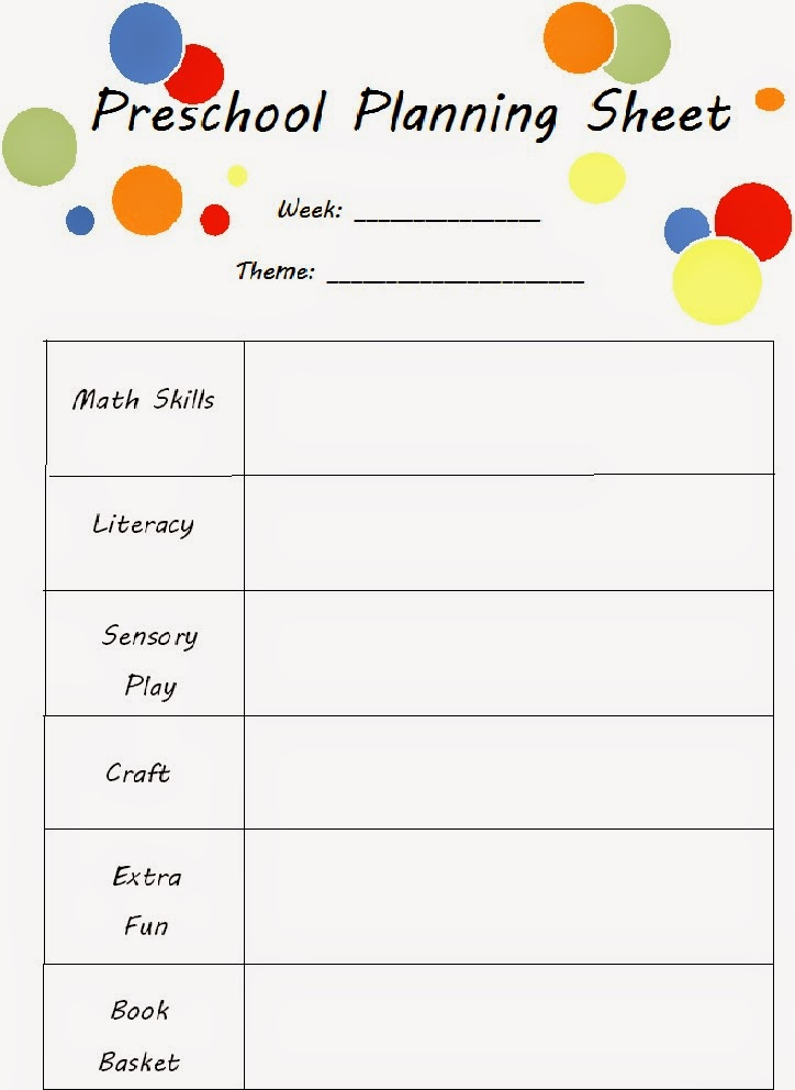 printable preschool planning sheet