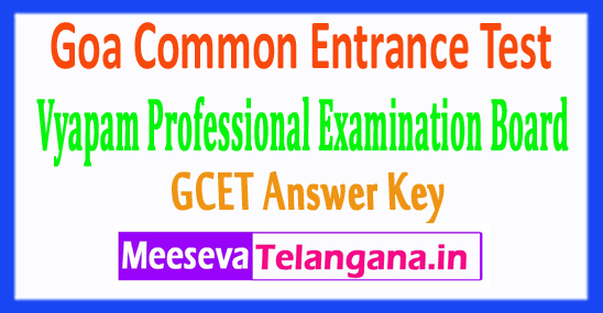 Goa Common Entrance Test GCET Answer Key 2017 Download