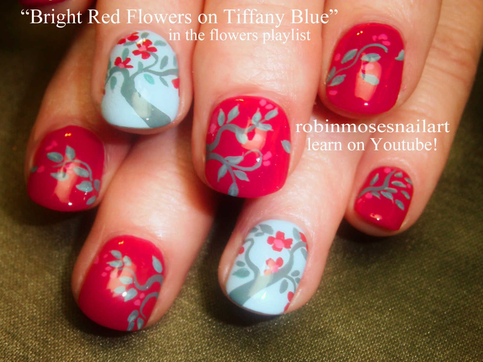 Nail Art by Robin Moses: red and blue flower nails, cutest flower ...