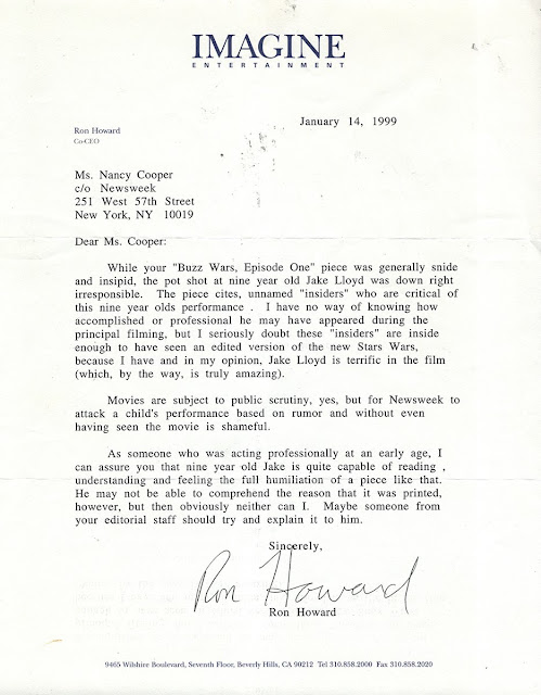 ron howard phantom menace letter