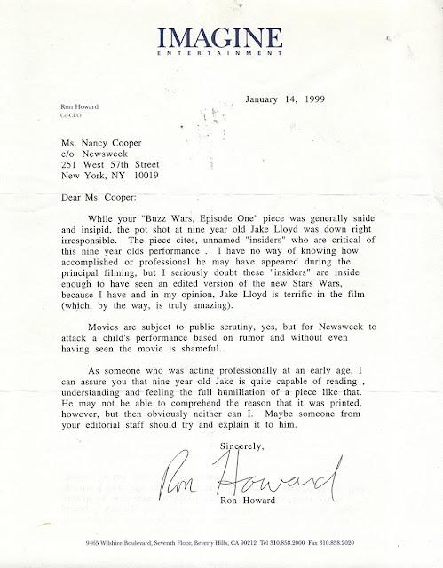 ron howard phantom menace letter