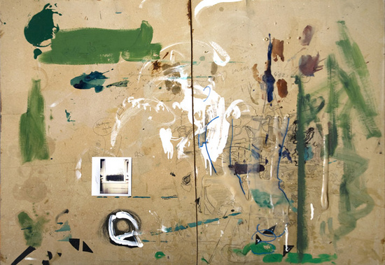 Dieter Roth & Björn Roth Bürotisch-Matte, Bali/Mosfellssveit, 1988—1989 Pencil, acrylic paint, oil paint, ink, marker, glue, varnish and collage (polaroid photograph, adhesive plastic tape, paper) on chipboard and painted plywood 74.3 x 104.1 cm