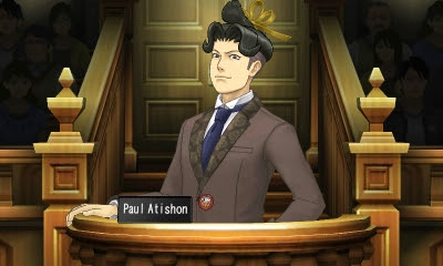 Paul Atishon Phoenix Wright Ace Attorney Spirit of Justice clean image screenshot on the stand testimony name plate