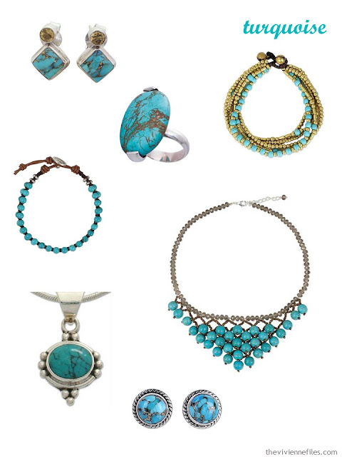 a family of seven pieces of turquoise jewelry