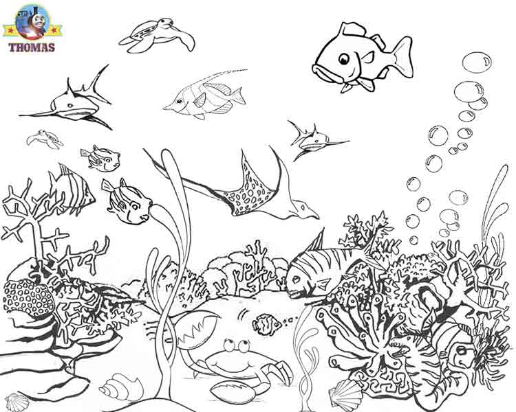 ocean backround coloring pages-#1