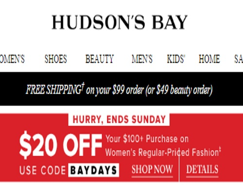 Hudson's Bay $20 Off Women's Fashion Promo Code