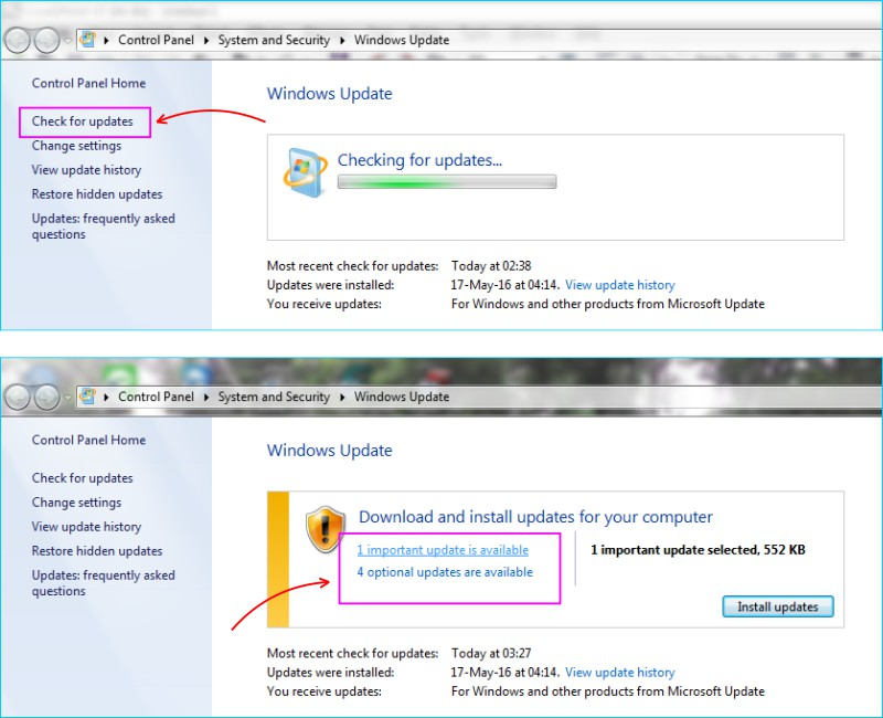 Update Windows 7 - Cek Sistem Update