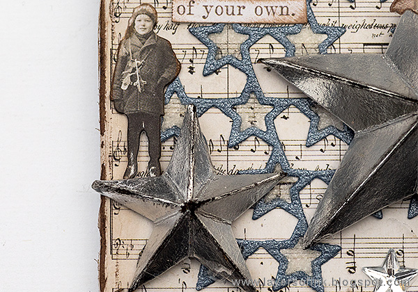 Layers of ink - Sparkling Silver Star Christmas Ornament by Anna-Karin Evaldsson with Tim Holtz ideaology Christmas Paper Dolls