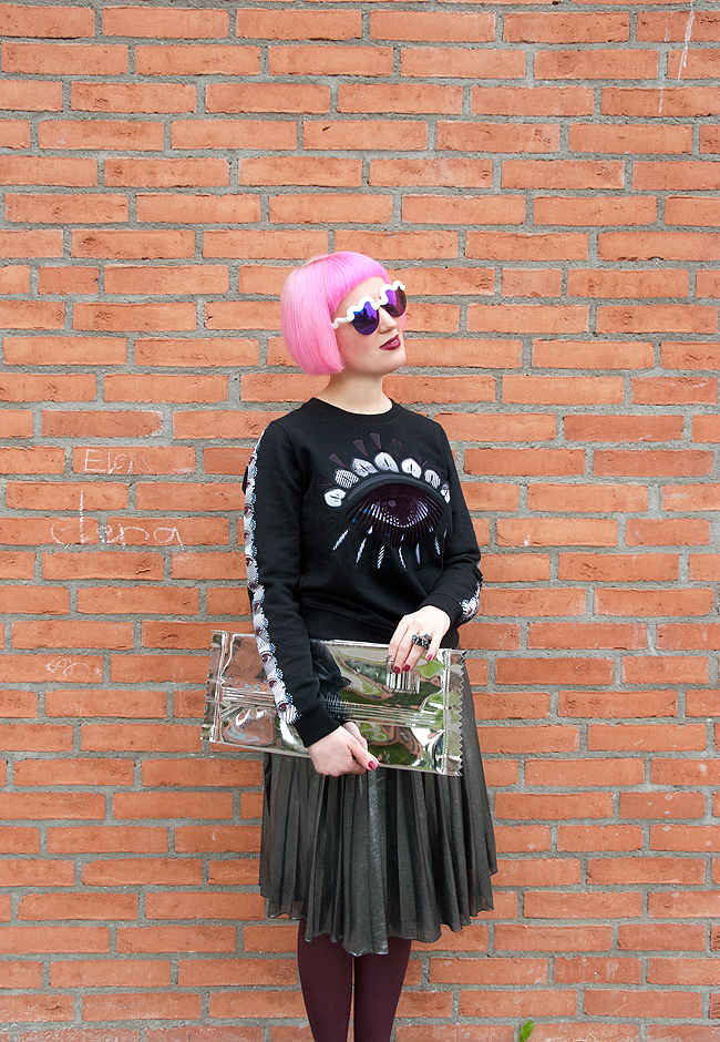 Metallic skirt, kenzo jumper, kenzo world