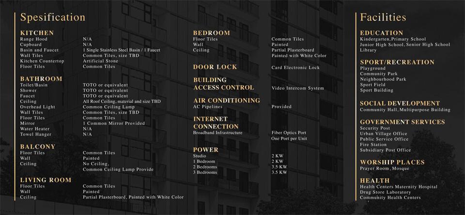 Spesifikasi Apartemen DAMOCI Tower Dave