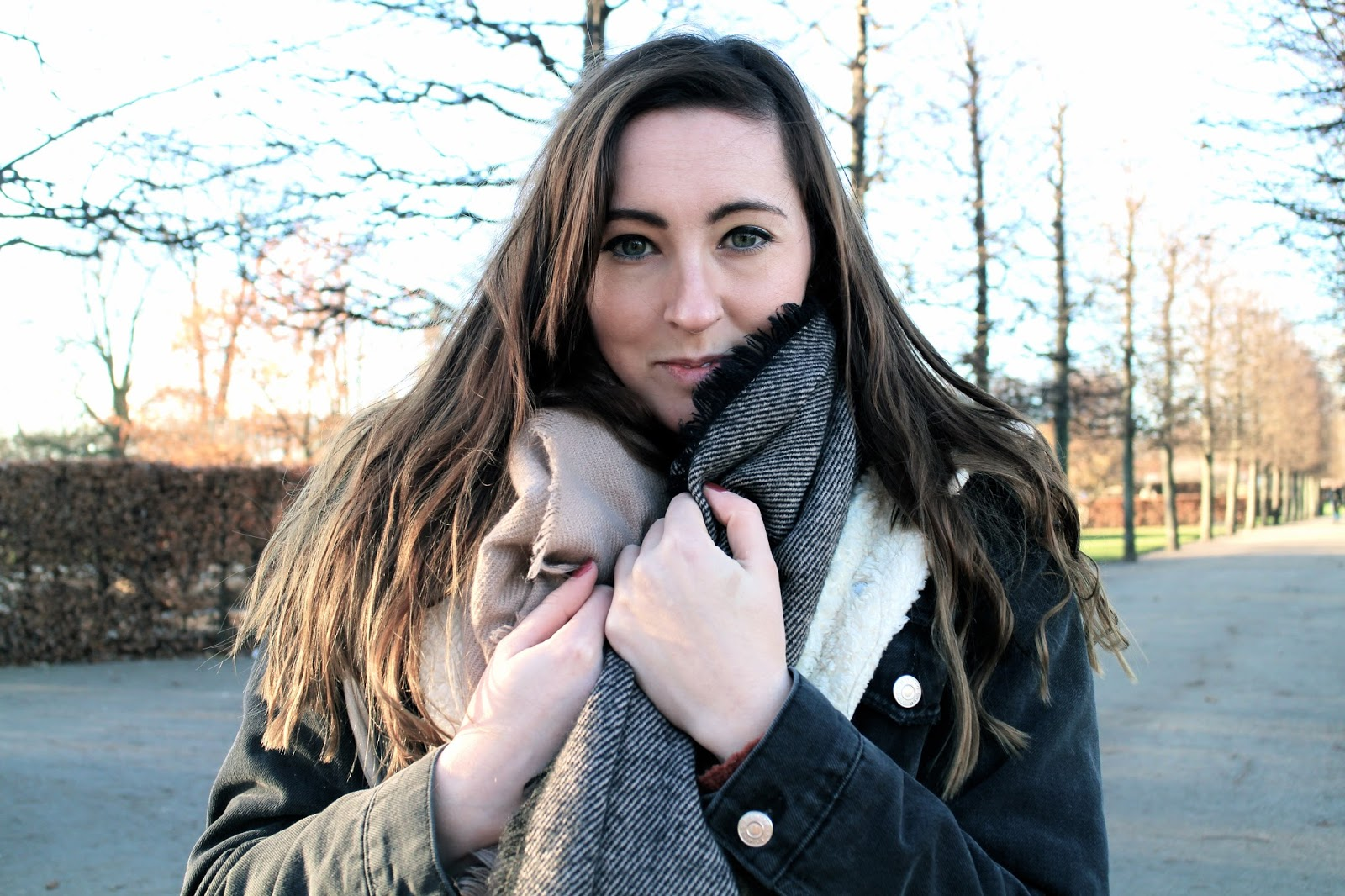 The Dress Diaries - Cosy blanket scarf from H&M and denim jacket from Topshop
