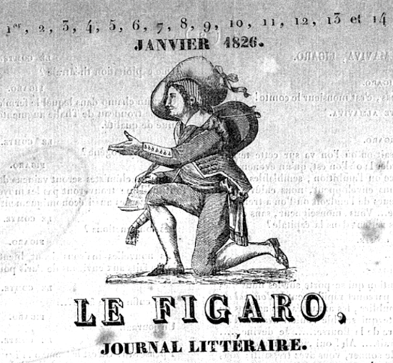 Le Figaro, header of the first issue 1826
