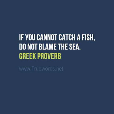 If you cannot catch a fish, do not blame the sea