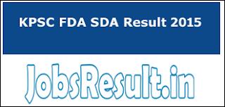 KPSC FDA SDA Result 2015