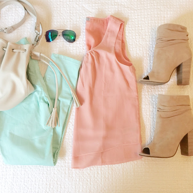 pastel colored outfit idea