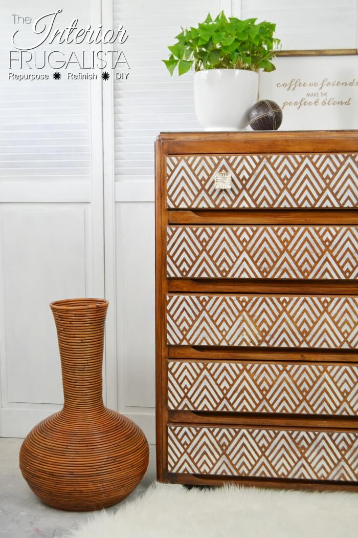 Whitewashed Geometric Dresser Makeover - 4th Most Popular Post of 2018