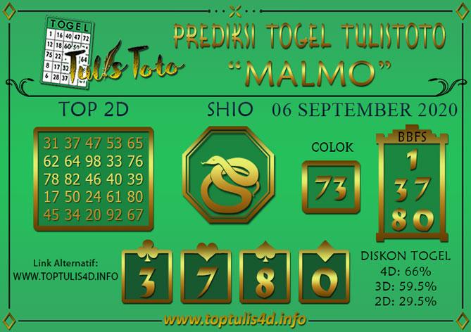 Prediksi Togel MALMO TULISTOTO 06 SEPTEMBER 2020