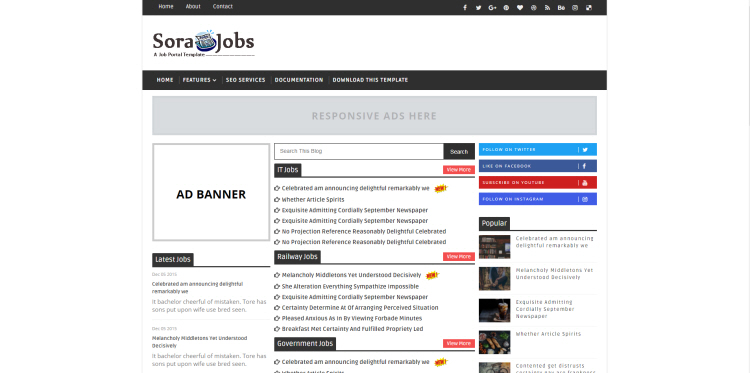 jobs template for blogger  Sora Jobs Blogger Template, download free blogspot theme 2018