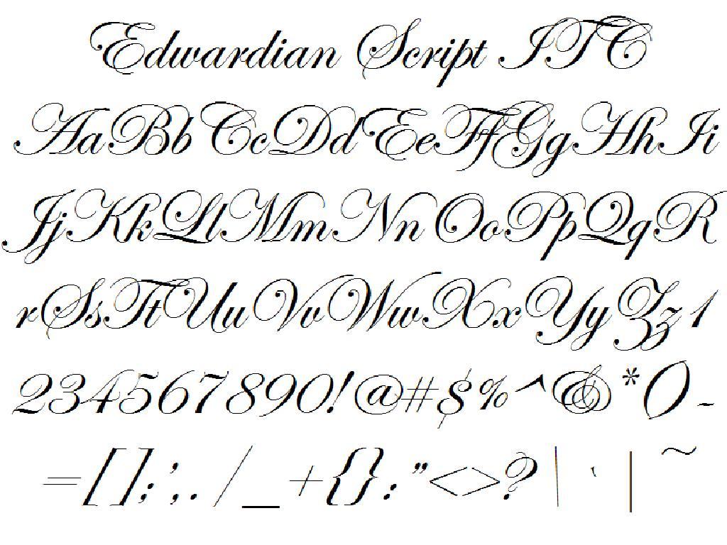 Font Alphabet Styles: Edwardian Script ITC
