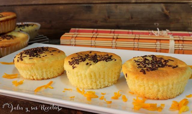 Magdalenas de queso crema y naranja. Julia y sus recetas