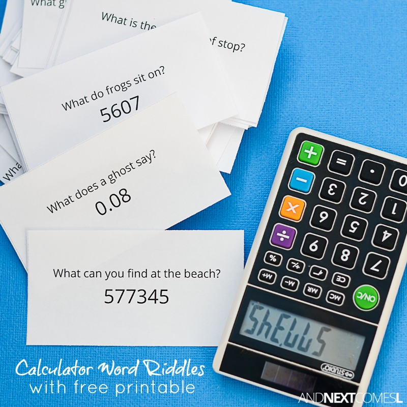 Free Printable Calculator Word Riddles for Kids | And Next