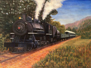 oil painting of train at Mt. Rainier Scenic Railroad near Elbe, WA, copyright Anne Doane 2017