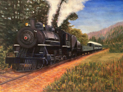 oil painting of train at Mt. Rainier Scenic Railroad near Elbe, WA, copyright Anne Doane 2017