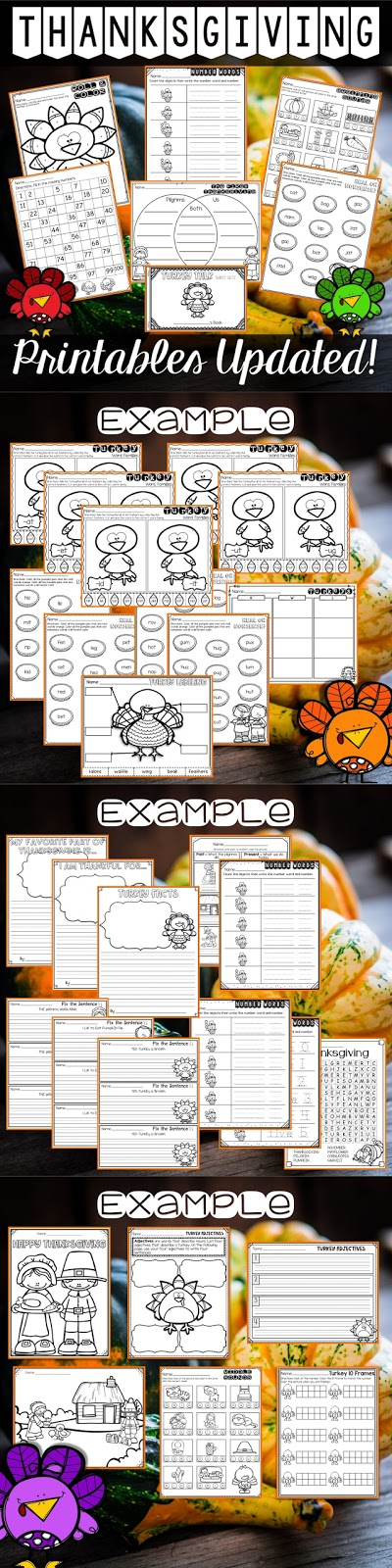 Thanksgiving Printables for Kindergarten and First Grade Teachers Pay Teachers