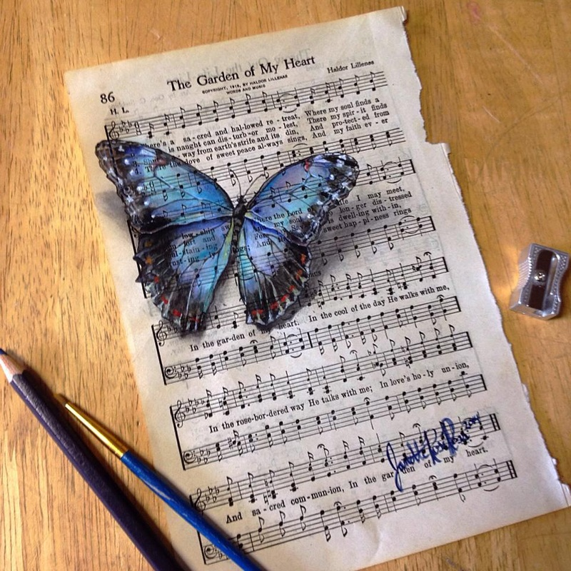 13-Janette-Rose-Painting-on-Leafs-+-Butterfly-Painting-on-Sheet-Music-www-designstack-co