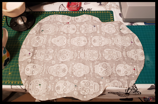 Sewing close to the edge to ensure I kept the skull shape