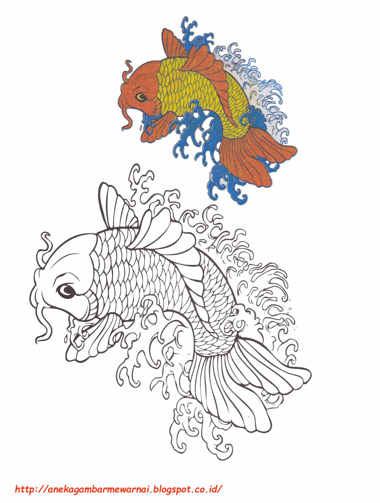 gambar mewarnai ikan koi untuk anak paud dan tk