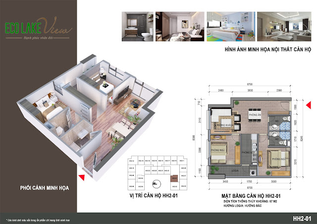 Thiết kế căn hộ C2 - 01 tòa HH2 Eco Lake View