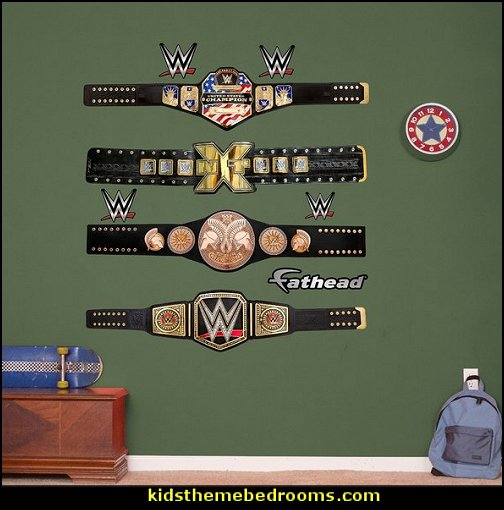 WWE Title Belts Peel and Stick Wall Decal  Sports Bedroom decorating ideas -  Wrestling theme bedroom decorating - boxing theme bedrooms - martial arts - skateboarding theme bedrooms  - football - baseball - basketball theme bedrooms - basketball bedding - golf theme bedrooms - hockey bedding - theme beds sports